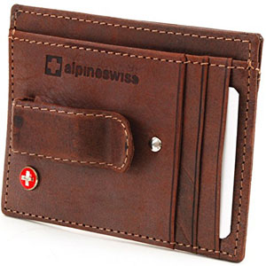 Alpine Swiss Men's Leather Money Clip Front Pocket Wallet