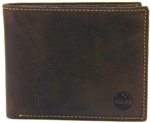 Timberland Men's Black Antique Leather Slimfold Pass case Bifold Wallet
