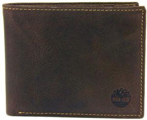 Timberland Men's Black Antique Leather Slimfold Pass case Bifold Wallet