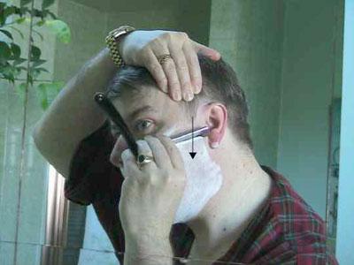 shaving the cheeks
