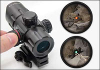 "UTG 4.2"" ITA Red/Green Dot Sight with Riser Adaptor, QD Mount and Flip-Open Lens Caps"