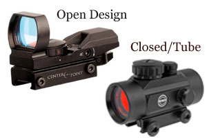 open vs closed tube red dot sight