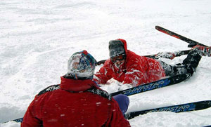 Broken Leg skiier