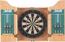 DMI Bristle Dartboard in Oak Finish Cabinet