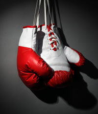 boxing glove hanging on closures
