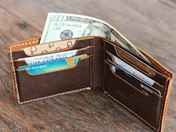 bi-fold-wallet on table
