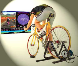 riding an indoor bike trainer