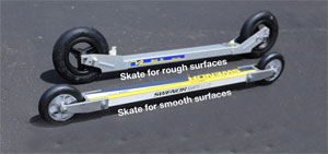 skate roller skis smooth and rough