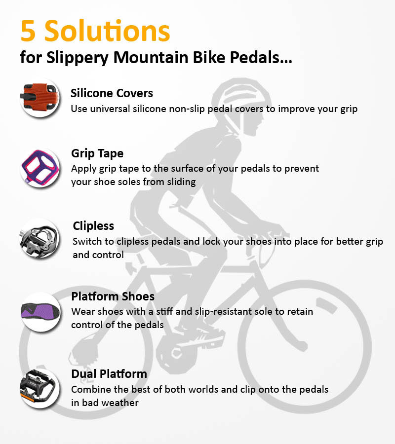 solutions for slippery mountain bike pedals infographic
