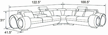 man cave couch dimensions