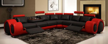 Red and Black Leather Sectional Sofa w/ recliners
