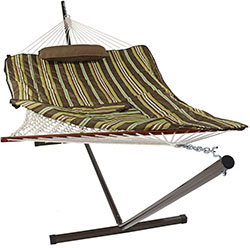 Sunnydaze Desert Stripe Cotton Rope Hammock with 12 Foot Steel Stand, Pad and Pillow