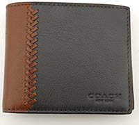 Coach Mens Compact ID Baseball Stitch Leather Wallet - #F75170 Fog Dark Saddle