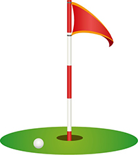 golf green with hole and flag