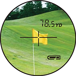 viewing the golf flag through a rangefinder