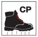 "Black boot with ""CP"" symbol"