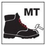 "Black boot with white hammer and ""MT"" symbol"
