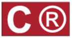 "Red rectangle with white ""C"" symbol"