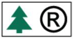 White rectangle or square with green fir tree symbol