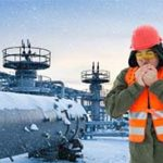 Worker working in cold and snow
