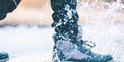 water falling on boot