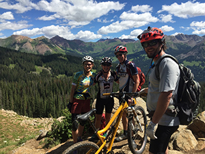 mountain bikers reached top of the hill