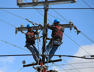 Power Line Installers at work