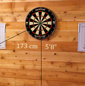 official dartboard height from the bull to the ground