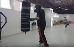 punching a heavy bag
