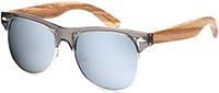 Ablibi Bamboo Wood Semi Rimless Sunglasses with Polarized Lenses