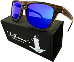 Southernmost Shades Natural Wood Sunglasses for Men - Wooden Frame - Genuine Polarized Lenses