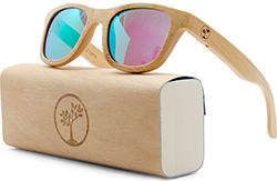 tree people Wood Sunglasses for Men and Women - Polarized Bamboo Wayfarer with Wooden Case