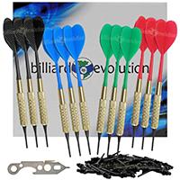 Set of Twelve Brass 2ba 16gm Soft Tip Bar Darts, 100 Black Dart Tips, & Dart Wrench by Billiard Evolution